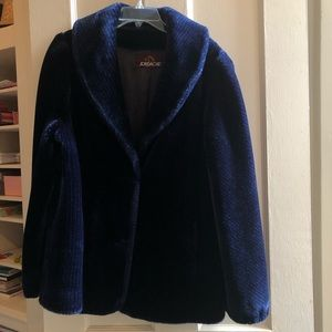 Vintage Navy Faux Fur Coat